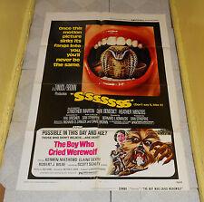 original THE BOY WHO CRIED WEREWOLF & SSSSSSS combo one-sheet poster
