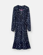 Joules Womens 209130 Long Sleeve Wrap Tea Dress - French Navy Star - 12