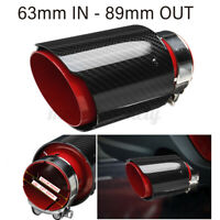 2.5'' 63mm-89mm Carbon Fiber Car Exhaust Pipe Tips Muffler End Universal Red