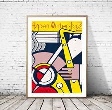 Roy Lichtenstein - Aspen Winter Jazz, Giclee print Large Art Poster Saxophone