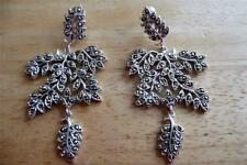 HUGE LONG CHAMPAGNE MARCASITE 925 STERLING SILVER LEAF DROP DANGLE EARRINGS