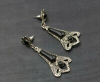 Victorian Revival Silver Tone Black Enamel Mourning Pierced Dangle Earrings a28