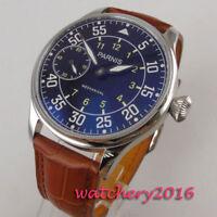 44mm PARNIS Black dial Leuchtzeiger 6497 Handaufzug mechanisch Uhr men's Watch