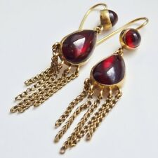 Antique Victorian 9ct Gold Cabochon Garnet Fringe Drop Earrings c1900