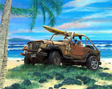 Cruiser Art Gallery ~ Hawaii beach surf car art ~  Jeep Wrangler print