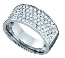 1.0 CT 10K MENS/LADIES WHITE GOLD 8.5 MM WEDDING BAND REAL DIAMOND RING