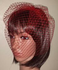 """Red birdcage wedding veil 9"""" Veil is attached to metal comb. Fascinator"""