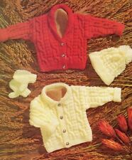 Knitting Pattern Baby's Aran Cable Jackets, Hat & Mittens  41-76 cm  (90)