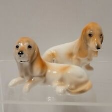 Vintage Pair Basset Hound Figurines Ardalt Lenwile Verithin China Hand Painted