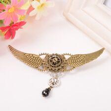 Vintage Lady Gear Wings Brooch Victorian Goth Punk Lolita Girls Jabot Badge Pin