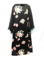 Vintage 70s L Black Pink Floral Dress Sheer Batwing Sleeves Long Hostess Gown Lg