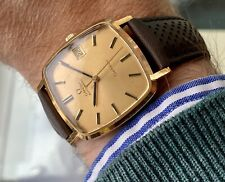 Omega vintage Geneve Gold Date Automatic Leather Mens Square Dial watch + Box
