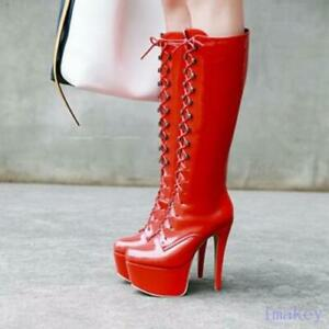 Sexy Women Super High Heels Platform Mid Calf Boots Lace Up Patent Leather Shoes