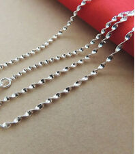 "1P 30"" Wholesale Jewelry 925 Silver Plated Double Water Wave Chain Necklace NEW"