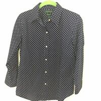 Ralph Lauren S Small Women's Navy Polka Dot 100% Cotton Button Up Shirt Top New
