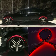 "4x 24"" RedLED Wheel-Well Neon Glow Flexible Strip Lights Car Fender Lamps Kit"