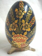 Pretty & Perfect Hand Painted Wooden Egg on Brass Stand