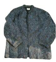 Vintage Womens Large Koret Black Mohair Acrylic Grandma Open Front Cardigan