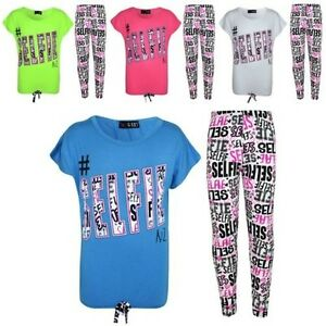 Kids Girls #Selfie T Shirt Top & Fashion selfie Graffiti Legging Set 7-13 Years