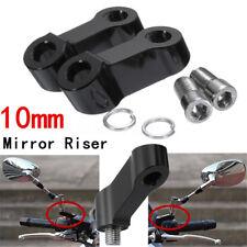 2x CNC 10mm Rétroviseur Miroir Base Adaptateur Fixation Support Filet Droit Moto