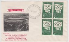 Stamps Australia 1955 Olympic Publicity 2/- green block Guthrie FDC unaddressed