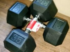 2 35 Pound lb Weider Hex Rubber Coated Weight Pair Dumbbells Set - Total 70 lbs