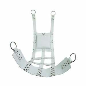 White Leather Web Sex Swing Sling for Adult Play BDSM with Stirrups Suspendable