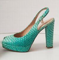 Marino Fabiani NEW Women's Sandals Heels Blue Snake Leather Size 38 EU 7 US 5 UK