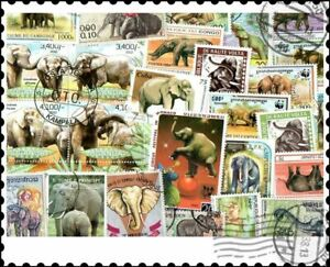 Elephants : 100 Different Stamps Collection