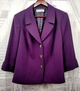 Tahari Womens Suit Jacket Blazer Purple Stretch 3/4 Sleeve Turnlock Plus 16W