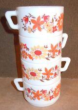 Lot 4 tasses arcopal café thé décor floral orange rouge
