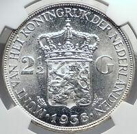 1939 Netherlands Kingdom Queen WILHELMINA 2 1/2 Gulden Silver Coin NGC i81935
