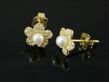 Synthetisch hergestellte Perlen-Ohrschmuck im Ohrstecker-Stil mit echten Edelsteinen