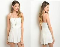 Off White Women Summer Romper Jumper Playsuit Corset Straps Casual Shorts Resort