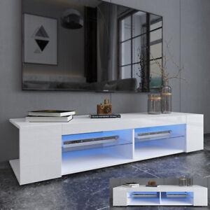 Modern TV Stand Unit Console Cabinet Matt & High Gloss W/LED Lights & Shelf NEW