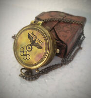 Berlin 1936 Engraved Brass Compass On Chain With Leather Case , Directional Gift