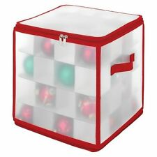 Whitmor Christmas Ornament Zip Gift Cube Case Organizer, White 64 sections
