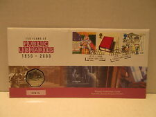 Great Britain coin & stamp cover 150 years of Public Libraries 50 pence coin
