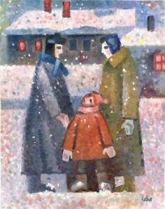 """Expressionist Anatoliy Chudinovskikh """"Schneefall"""" Öl Leinwand 60x48 cm"""