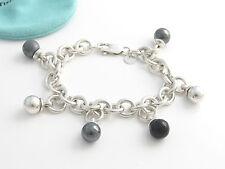 Tiffany & Co RARE VINTAGE Silver Onyx Hematite Dangle Dangling Bracelet!