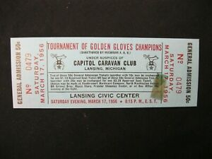Vintage RARE 1956 Golden Gloves Champios BOXING Tournament Ticket Lansing MI  40