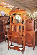 Mahogany William & Mary Antique Hall Tree Stand Hat Rack w Mirror Storage Hanger