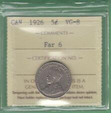 1926 Canada 5 Cents Coin - Far 6 - ICCS Graded VG-8
