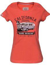 VW Bulli Bus T-Shirt Damen »LAGUNA BEACH« Surf Apricot Classic Cars Orange 5010