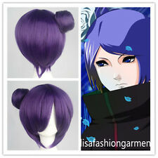 Hot Konan Anime Cosplay Costume Wig Short Straight Dark Purple wigs+free wig cap