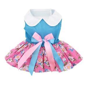 Doggie Design Pink and Blue Plumeria Floral Dog Dress & Leash  XS-S-M-L