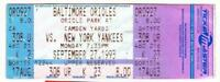 YANKEES vs ORIOLES ~ Sept 1993 Ticket ~ Ripken Streak #1893 Baines HR ~ FREE SH