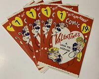 "Lot of 5 VTG ""HIT' EM-HARD"" Adult Insult Comic Valentines~UNUSED~1960's~FULD &Co"