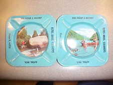 ALPENA FISHING BOATS  ASH TRAYS 1950 FISH CLEANERS MICH  ADVERTISE  COLLECTABLE