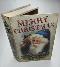 Book Box Hidden Storage Jewelry Secret Fake, Merry Christmas Version w/Santa $22